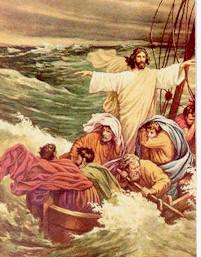 Jesús calma el lago de Galilea